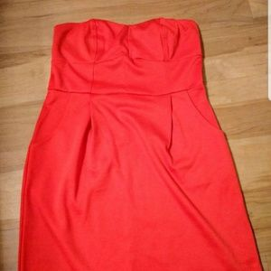 Casual, strapless, cute coral summer dress